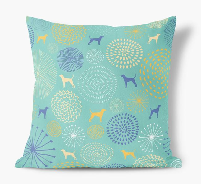 Circles Pattern Soft Touch Cushion with Black and Tan Coonhound Silhouettes