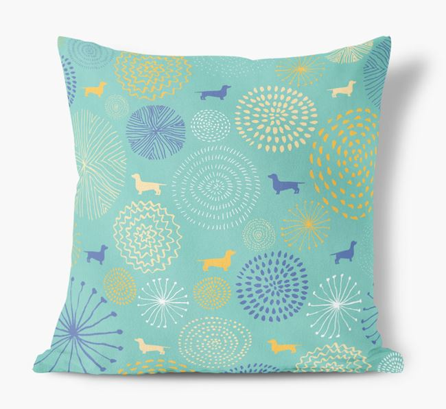 Circles Pattern Soft Touch Cushion with Dog Silhouettes
