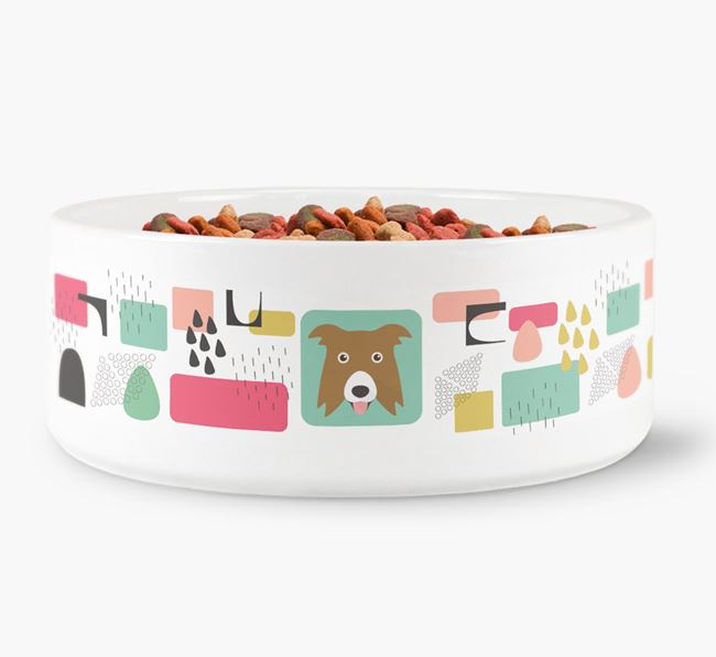 Abstract Design Dog Bowl for your Border Collie