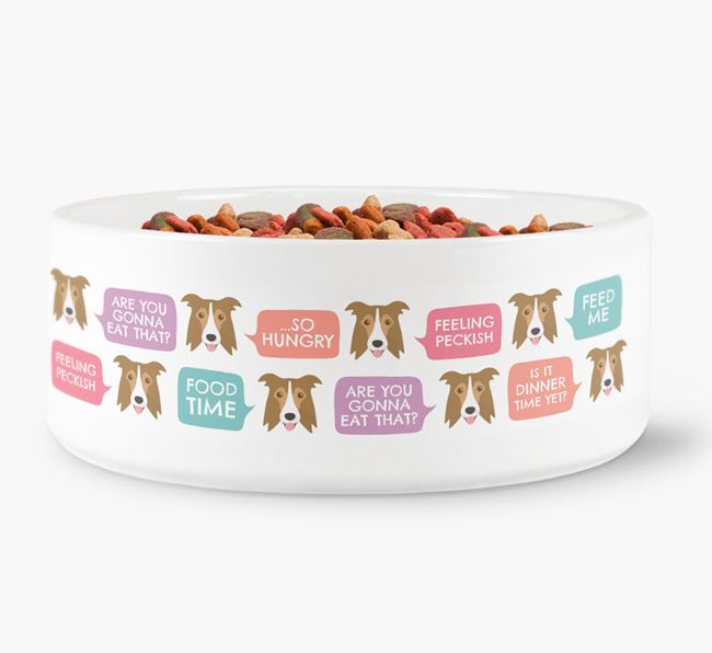Speech Bubble Dog Bowl for your Border Collie