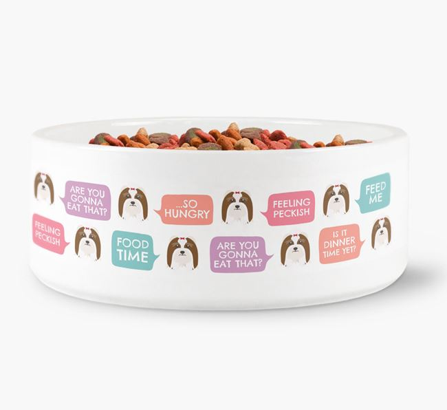 Speech Bubble Dog Bowl for your Lhasa Apso