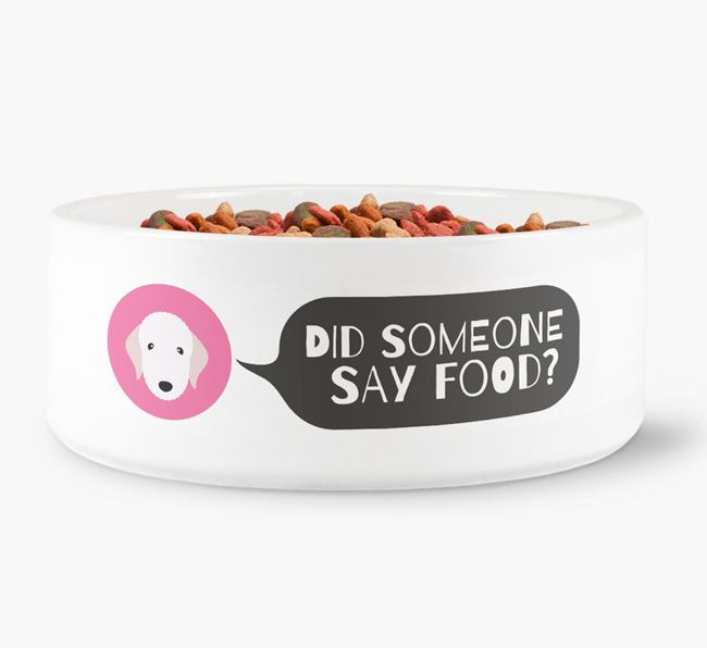 'Did someone say food?' Dog Bowl for your Bedlington Terrier