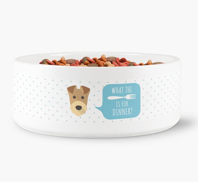 'What's for dinner?' Dog Bowl for your Airedale Terrier