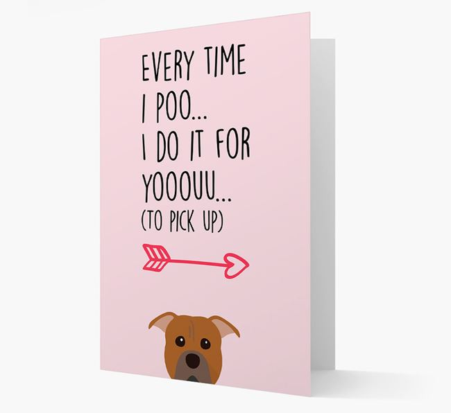 'Everytime I Poo...' Card with your American Pit Bull Terrier Icon