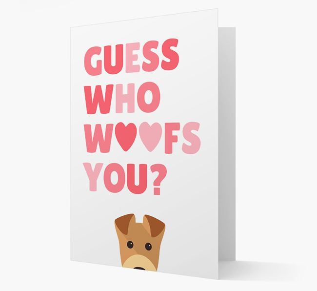 'Guess Who Woofs You?' Card with your Airedale Terrier Icon