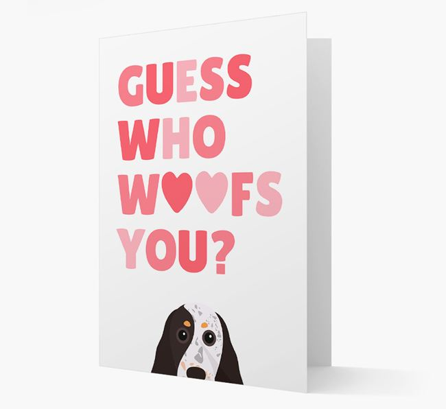 'Guess Who Woofs You?' Card with your Cocker Spaniel Icon