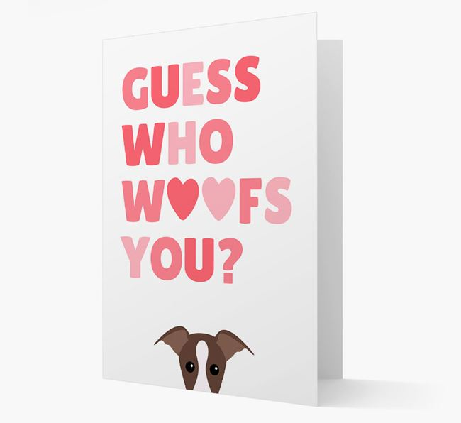 'Guess Who Woofs You?' Card with your Greyhound Icon