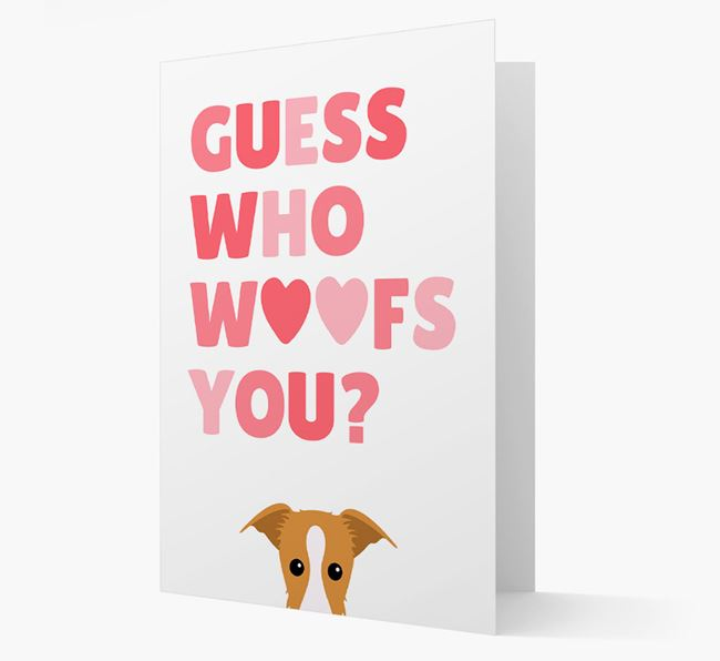 'Guess Who Woofs You?' Card with your Lurcher Icon