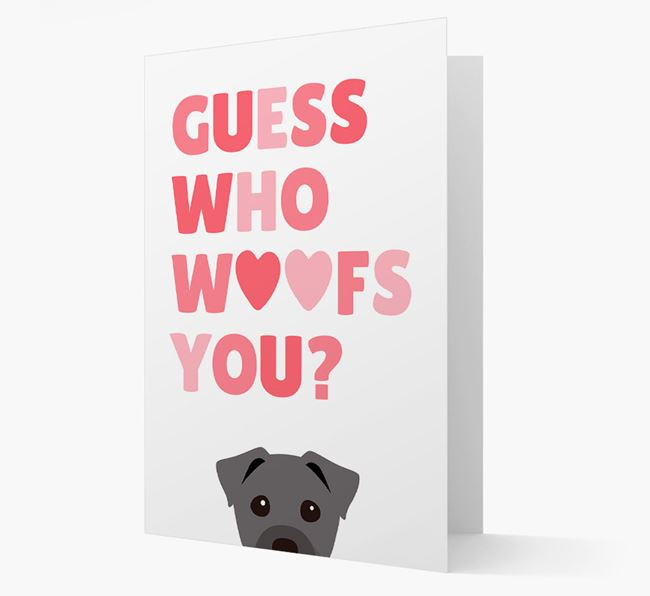 'Guess Who Woofs You?' Card with your Staffy Jack Icon