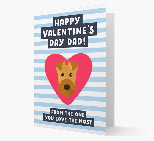 'Happy Valentine's Day Dad' Card with your Airedale Terrier Icon