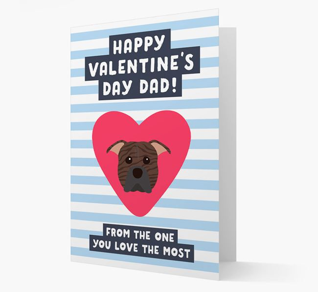 'Happy Valentine's Day Dad' Card with your American Pit Bull Terrier Icon