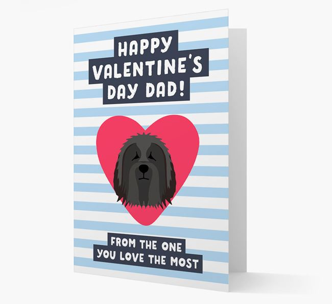 'Happy Valentine's Day Dad' Card with your Bearded Collie Icon