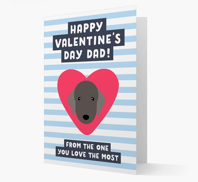 'Happy Valentine's Day Dad' Card with your Bedlington Terrier Icon
