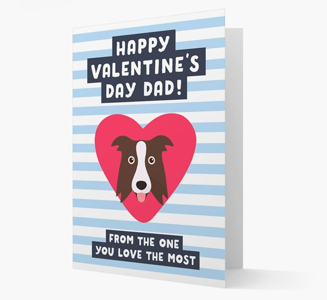 'Happy Valentine's Day Dad' Card with your Border Collie Icon
