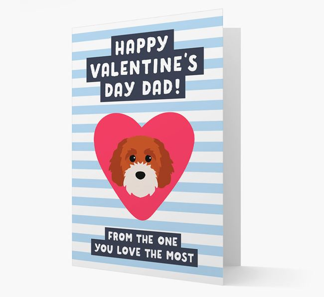 'Happy Valentine's Day Dad' Card with your Cavapoochon Icon