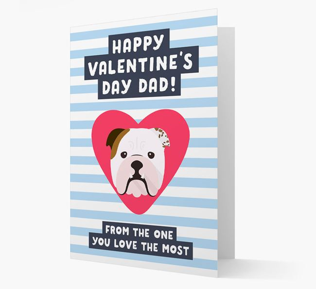 'Happy Valentine's Day Dad' Card with your English Bulldog Icon