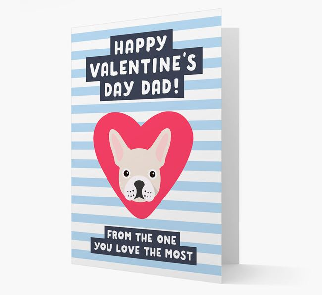 'Happy Valentine's Day Dad' Card with your French Bulldog Icon