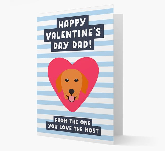 'Happy Valentine's Day Dad' Card with your Golden Retriever Icon