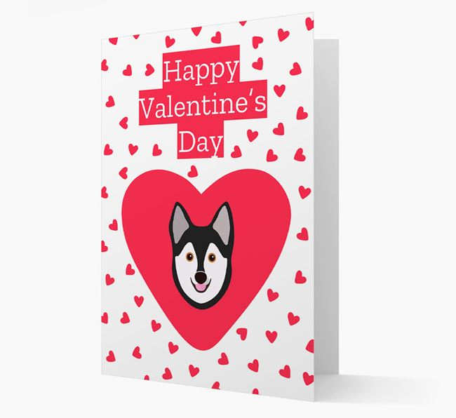 'Happy Valentine's Day' Card with your Alaskan Klee Kai Icon