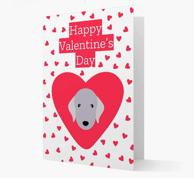 'Happy Valentine's Day' Card with your Bedlington Terrier Icon