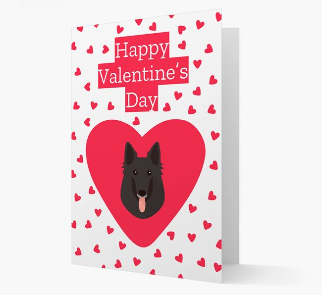 'Happy Valentine's Day' Card with your Belgian Groenendael Icon