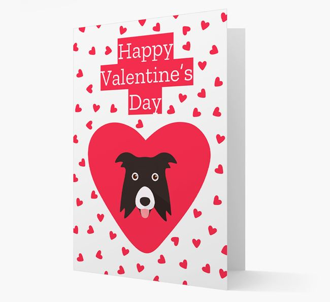 'Happy Valentine's Day' Card with your Border Collie Icon