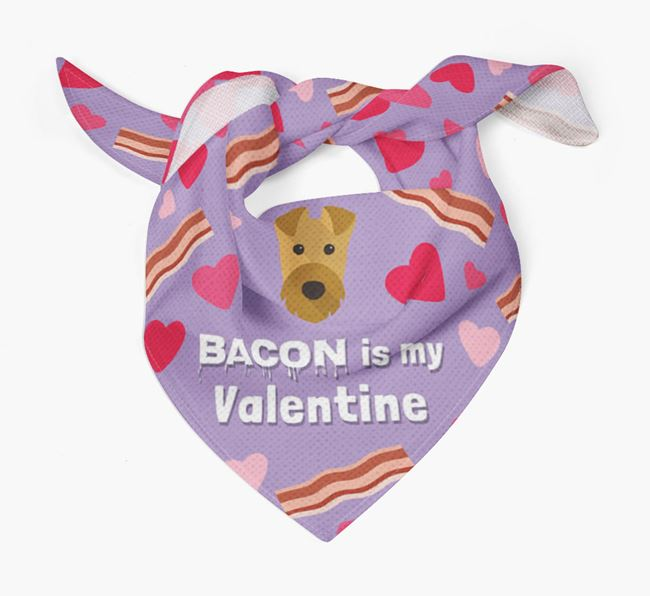 'Bacon is my Valentine' Bandana with Airedale Terrier Icon