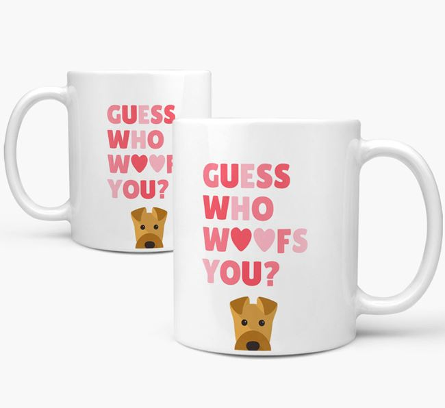'Guess Who Woofs You' Mug With Airedale Terrier Icon