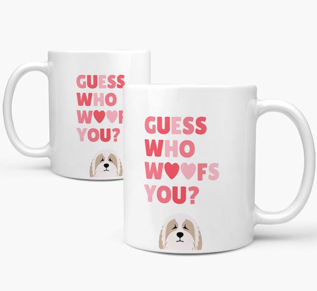 'Guess Who Woofs You' Mug With Bearded Collie Icon
