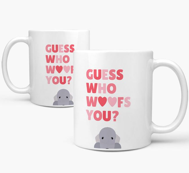 'Guess Who Woofs You' Mug With Bedlington Terrier Icon