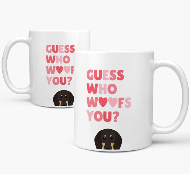 'Guess Who Woofs You' Mug With Black and Tan Coonhound Icon