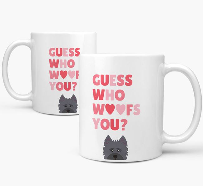'Guess Who Woofs You' Mug With Cairn Terrier Icon