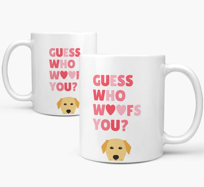 'Guess Who Woofs You' Mug With Golden Labrador Icon