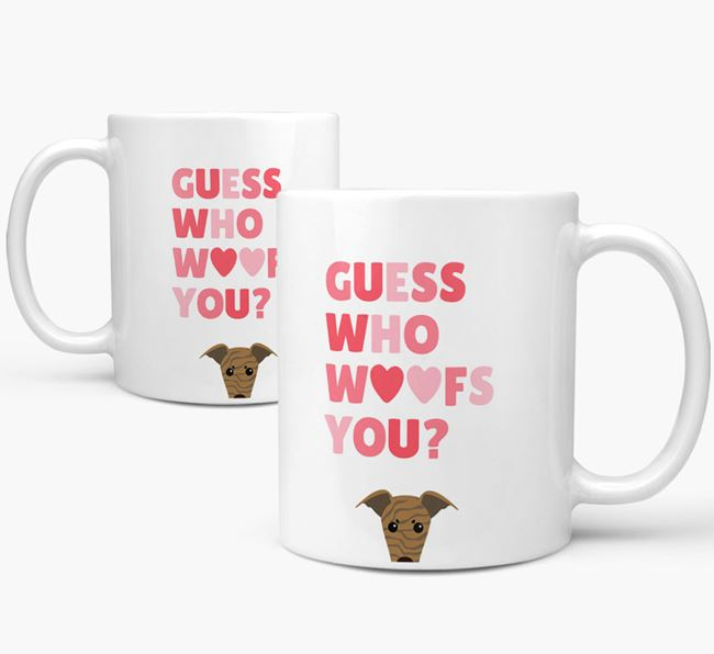 'Guess Who Woofs You' Mug With Greyhound Icon