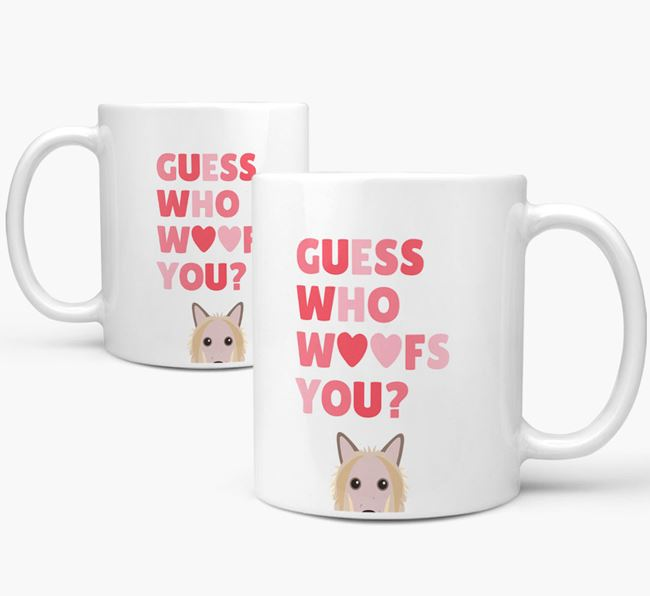 'Guess Who Woofs You' Mug With Hairless Chinese Crested Icon