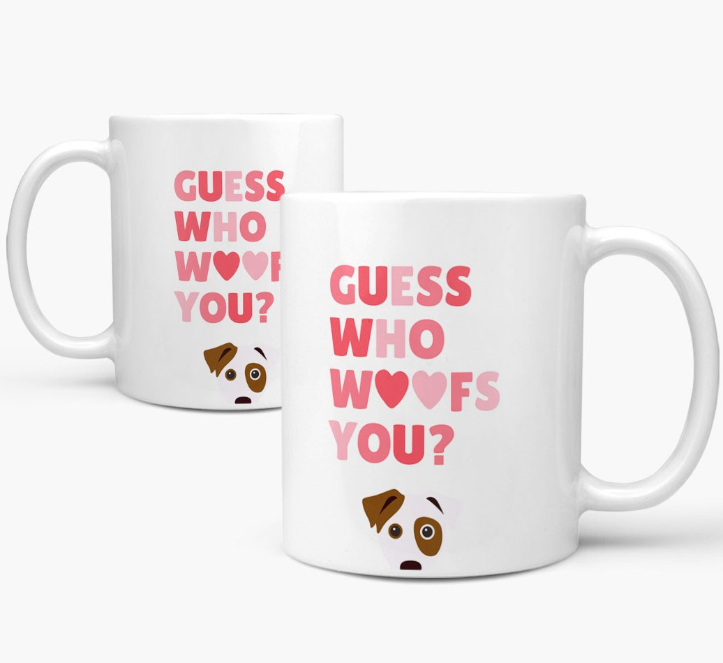 'Guess Who Woofs You' Mug With Dog Icon both views