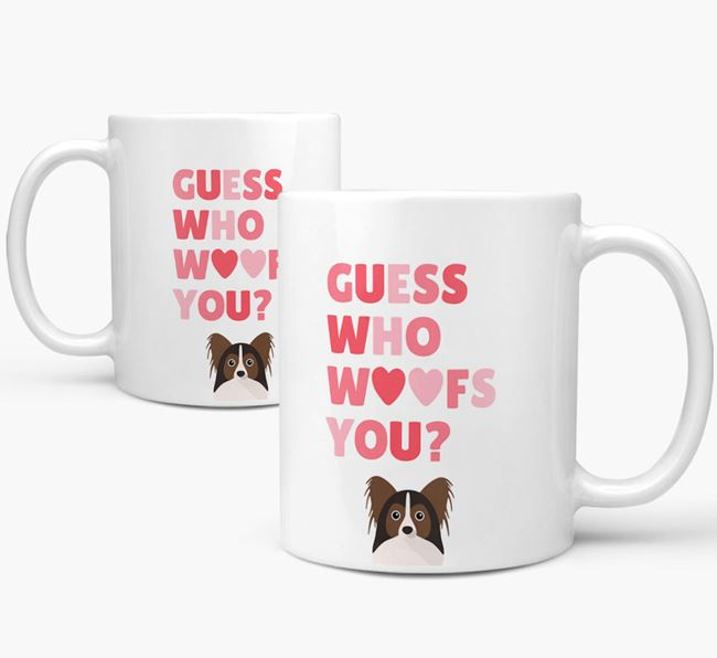'Guess Who Woofs You' Mug With Papillon Icon