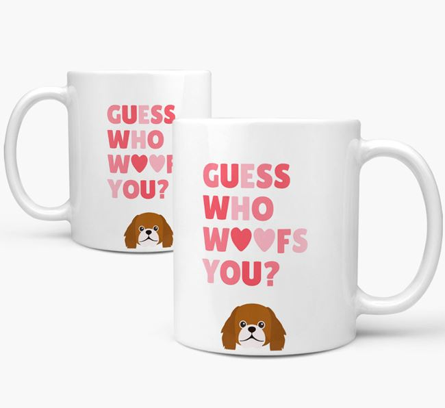 'Guess Who Woofs You' Mug With Pekingese Icon