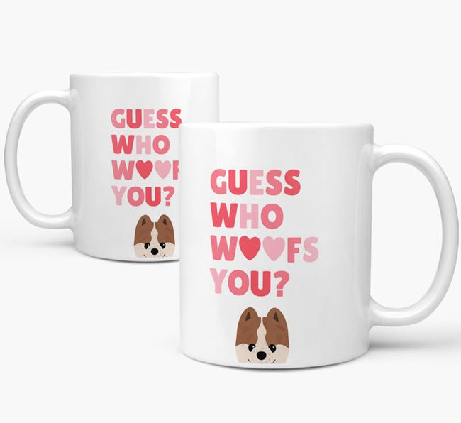 'Guess Who Woofs You' Mug With Pomeranian Icon