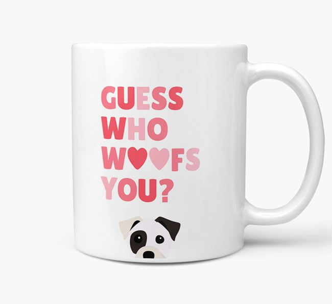 'Guess Who Woofs You' Mug With Staffy Jack Icon