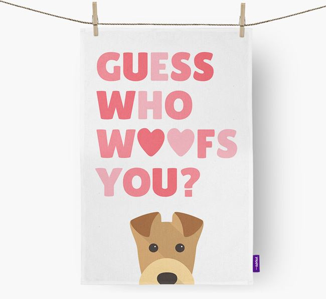 'Guess Who Woofs You?' Tea Towel with Airedale Terrier Icon