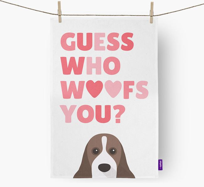 'Guess Who Woofs You?' Tea Towel with American Cocker Spaniel Icon
