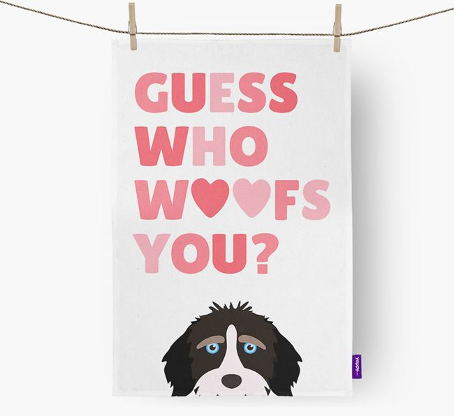 'Guess Who Woofs You?' Tea Towel with Aussiedoodle Icon