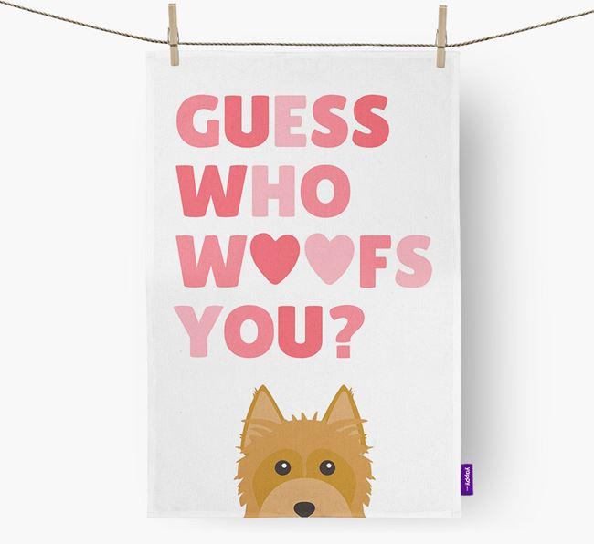 'Guess Who Woofs You?' Tea Towel with Australian Silky Terrier Icon