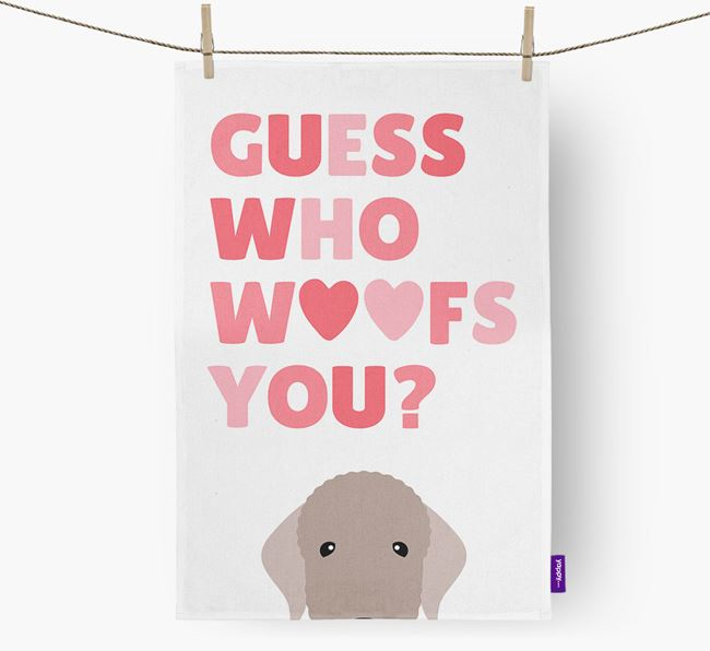 'Guess Who Woofs You?' Tea Towel with Bedlington Terrier Icon