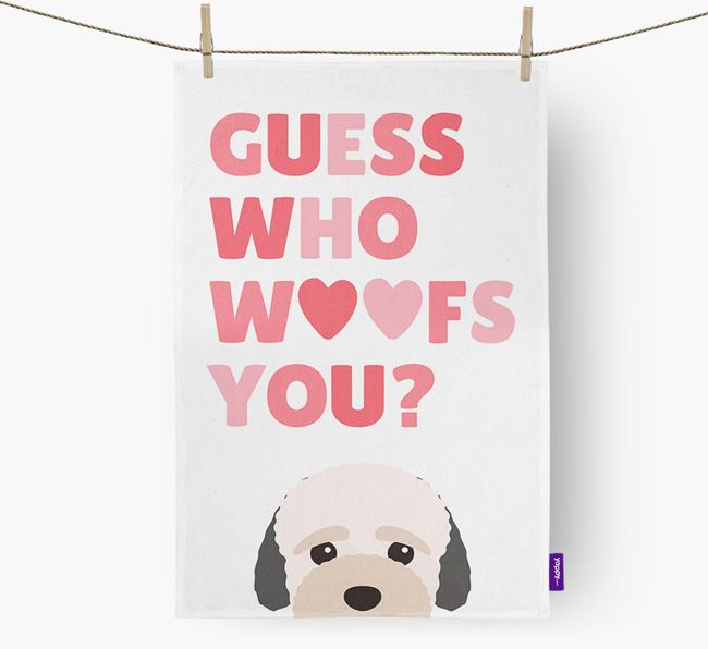 'Guess Who Woofs You?' Dish Towel with Bich-poo Icon