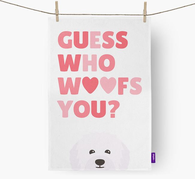 'Guess Who Woofs You?' Tea Towel with Bolognese Icon