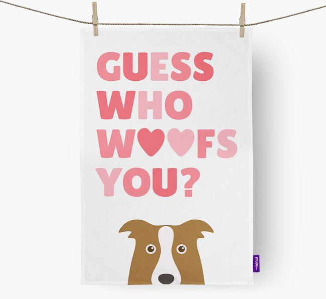 'Guess Who Woofs You?' Tea Towel with Border Collie Icon