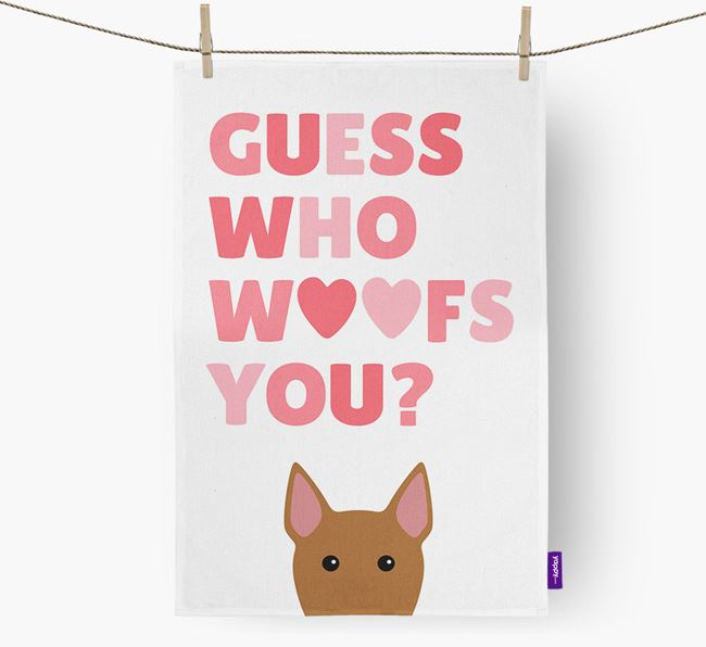 'Guess Who Woofs You?' Dish Towel with Bull Terrier Icon
