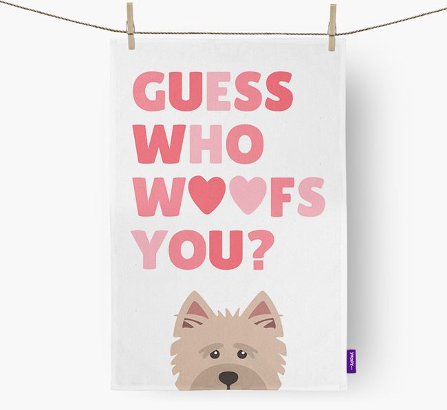 'Guess Who Woofs You?' Dish Towel with Cairn Terrier Icon